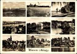 Postcard Waren an der Müritz, Segelboote, Blick auf den Ort, Kirchturm, Möwen