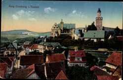 Postcard Kronberg im Taunus Hessen, Blick auf den Ort und die Burg, Dächer