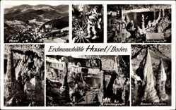 Postcard Hasel in Baden, Erdmannshöhle, Fürstengruft, Amerik. Füllofen