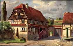 Künstler Ak Elsäßer Bauernhaus, Fachwerkhaus, Ziehbrunnen