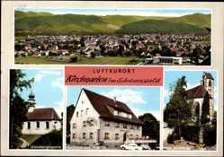 Postcard Kirchzarten Schwarzwald, Giersbergkapelle, Gasthaus zum Hirschen, Kirche