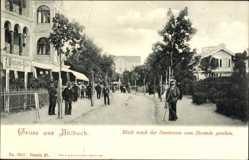 Postcard Ostseebad Ahlbeck Heringsdorf, Blick nach der Seestraße vom Strande, Kurhaus