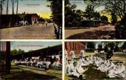 Postcard Zeithain in Sachsen, Montbé Strasse, Infanterie Barackenlager
