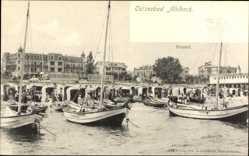 Postcard Ostseebad Ahlbeck Heringsdorf, Fischerboote am Strand, Badegäste