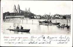 Postcard Speyer am Oberrhein Rheinland Pfalz, Dom vom Rhein gesehen, Ruderboot