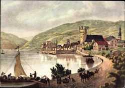 Ak Rüdesheim am Rhein in Hessen, Weinbrennerei Asbach Uralt, Bootsbeladung
