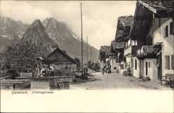Postcard Garmisch Partenkirchen in Oberbayern, Blick in die Frühlingstraße, Gebirge