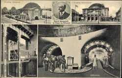 Postcard Hamburg Mitte St. Pauli, Elbtunnel, Baurat Wendemuth, Fahrstuhl