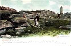 Postcard Brocken Nationalpark Harz, Haus und Turm, Wanderer