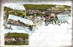 Litho Bad Kösen Naumburg an der Saale, Gradierwerk, Rudelsburg, Borlachbad