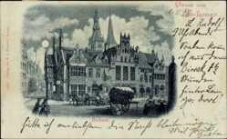 Mondschein Ak Lemgo in Nordrhein Westfalen, Ansicht vom Rathaus