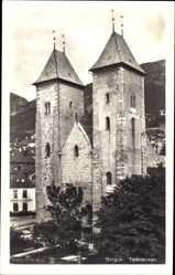 Postcard Bergen Norwegen, Tyskekirken, Blick auf die Deutsche Kirche