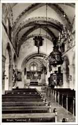 Postcard Bergen Norwegen, Tyskekirken, Deutsche Kirchen, Innenansicht, Redekanzel