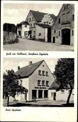 Postcard Hüllhorst Nordrhein Westfalen, Kaufhaus Bögeholz, Amts Apotheke