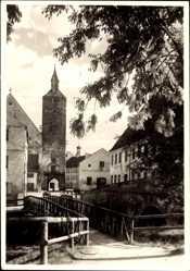 Foto Ak Mindelheim im schwäbischen Kreis Unterallgäu, Torturm, Brücke