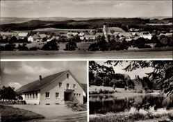 Postcard Bergatreute Kreis Ravensburg, Pfarrgemeindehaus, Elfenweiher, Totale