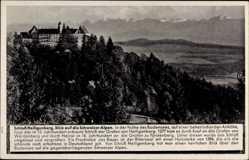 Postcard Heiligenberg Bodenseekreis,Blick auf Schloss Heiligenberg und Schweizer Alpen