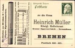 Ak Ganzsachen Ak Heinrich Müller, Königlicher Hoflieferant, Zigarren
