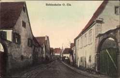 Postcard Beblenheim Bebelnheim Elsaß Haut Rhin, Straßenpartie im Ort, Kirchturm