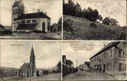 Postcard Scharrachbergheim Bas Rhin, Kirche, Restaurant z. goldenen Stern, Brosius