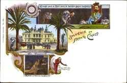 Litho Monte Carlo Monaco, Casino, Roulette, Rouge perd et Noir perd