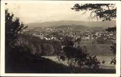 Ak Jelenia Góra Hirschberg Schlesien, Riesengebirge, Totalansicht der Ortschaft