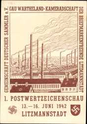 Ganzsachen Ak Lodz Polen, Litzmannstadt, 1. Postwertzeichenschau 1942