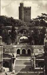 Postcard Helsingborg Schweden, Terrassen och Kärnan, Blick auf Treppenaufgang, Turm