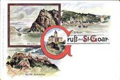 Postcard St. Goar im Rhein Hunsrück Kreis, Loreley, Ruine Rheinfels, Die Katz
