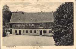 Postcard Selketal Falkenstein Harz, Blick auf das Hotel zum Falken, Fachwerkhaus