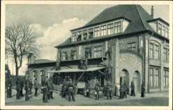 Postcard Wittenberge in der Prignitz, Singer Nähmaschinen, Werksfeuerwehrübung
