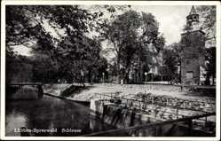 Postcard Lübben im Spreewald, Partie an der Schleuse, Turm, Treppe