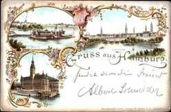 Wappen Litho Hamburg Mitte, Alsterlust, Lombardsbrücke, Rathaus