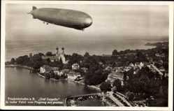 Postcard Friedrichshafen am Bodensee, Fliegeraufnahme vom Graf Zeppelin, LZ 127