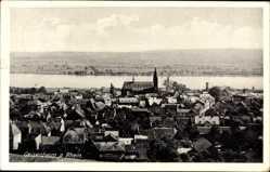 Postcard Geisenheim Rhein, Blick auf den Ort und den Rhein, Kirche, Felder