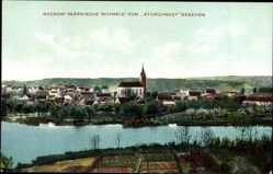 Postcard Buckow Märkische Schweiz, Blick vom Storchnest auf den Ort, Fluss