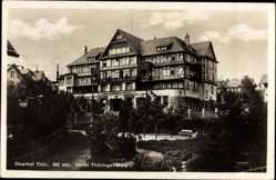 Postcard Oberhof im Thüringer Wald, Blick auf das Hotel Thüringer Wald, Fachwerkhaus