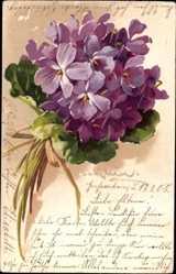 Künstler Litho Klein, Catharina, Blumenstrauß, Violette Blüten