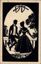 Künstler Ak Manni Grosze, Paar auf Terrasse mit Rose