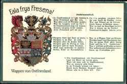 Präge Wappen Lied Ak Ostfriesland, Eala frya Fresena, Ostfriesenlied
