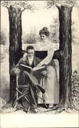 Buchstaben Ak H, Mann sitzend mit Buch, Frau stehend