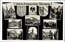 Wappen Ak Nürnberg, Stadt der Reichsparteitage, Henkersteg, Kaiserstallung