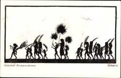 Scherenschnitt Ak Diefenbach, Per aspera ad astra, Palmenblätter, Teilbild 31