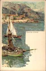 Künstler Litho Wielandt, Manuel, Monte Carlo Monaco, Segelboote, Ort