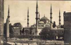 Ak Konstantinopel Istanbul Türkei, Moschee des Sultan Ahmed, Pferdewagen