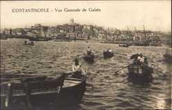 Postcard Konstantinopel Istanbul Türkei, Vue generale de Galata, Ruderboote