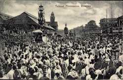 Postcard Mumbai Bombay Indien, Taboot Procession, Inder bei Festumzug