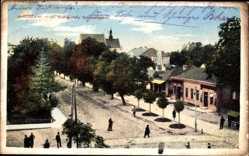 Postcard Jaroslaw Polen, Blick in die Krakauergasse, Passanten, Geschäfte