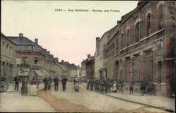 Postcard Lens Pas de Calais, Rue Berthelot, Bureau des Postes, Postamt, Radfahrer