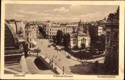Postcard București Bukarest Rumänien, Viktoria Straße, Gesamtansicht